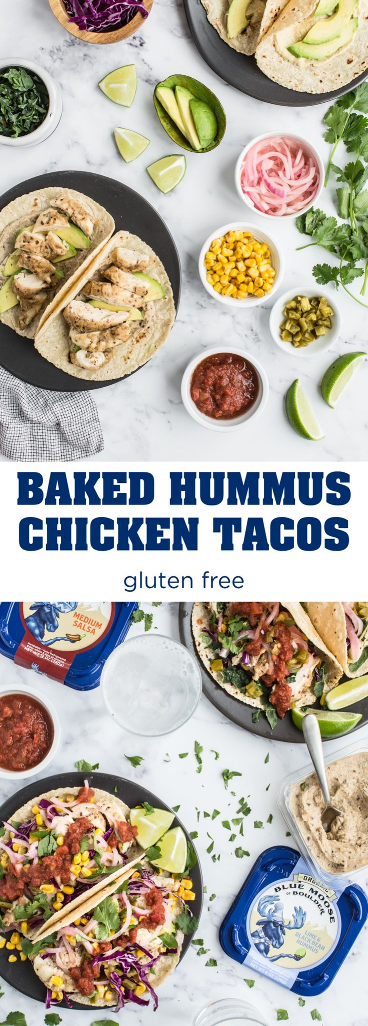 Baked Hummus Chicken Tacos | This recipe is the perfect weeknight dinner or party appetizer. This recipe calls for marinating the chicken and coating it in Blue Moose Organic Lime & Black Bean Hummus. When the chicken tenders bake in the oven, the hummus crisps up – which adds a deliciously crunchy texture to every bite of your taco.The topping options are endless - get creative with shredded kale, grilled corn, pickled onions, avocado and salsa!