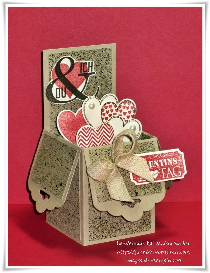 Love the scallop tag punch used on the side.  VIP-Donnerstag ~ # 7/2014 ~ Pop-Up Box Card  ……