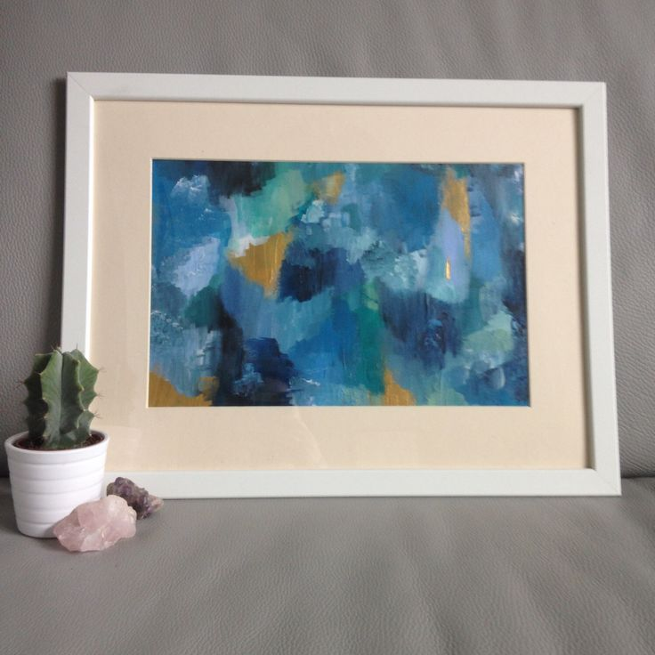 Original Abstract Painting with Gold Metallic Detail - A3 Framed by TreehomeArts on Etsy https://www.etsy.com/uk/listing/475909719/original-abstract-painting-with-gold