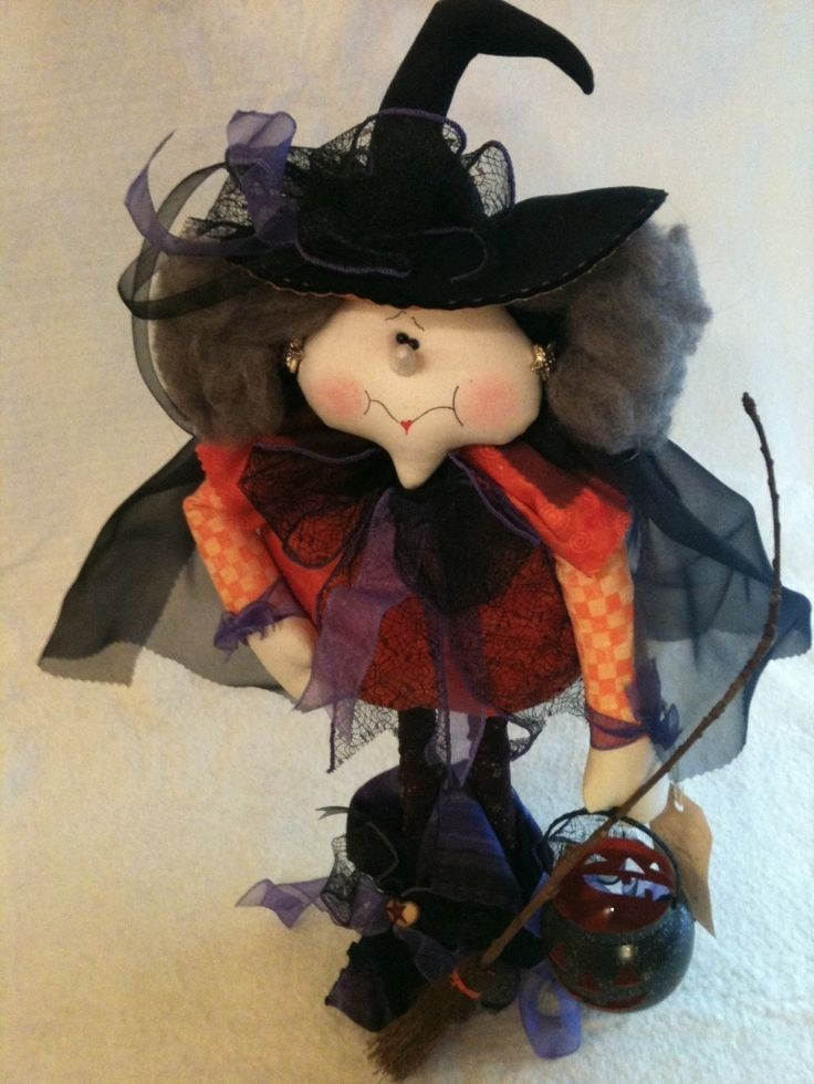 WOW! One of my own pattern designs made so beautifully! What a suprise to see. Halloween Witch Doll | eBay