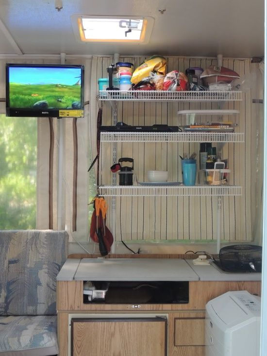 Camping Diy Pop Up Mod Tension Rod Mount For A Tv On A