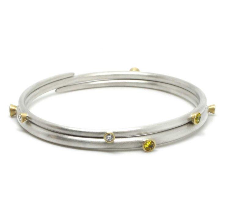 Mark Nuell - Pink Sapphire & Diamond Bangles - ORRO Contemporary Jewellery Glasgow - www.orro.co.uk