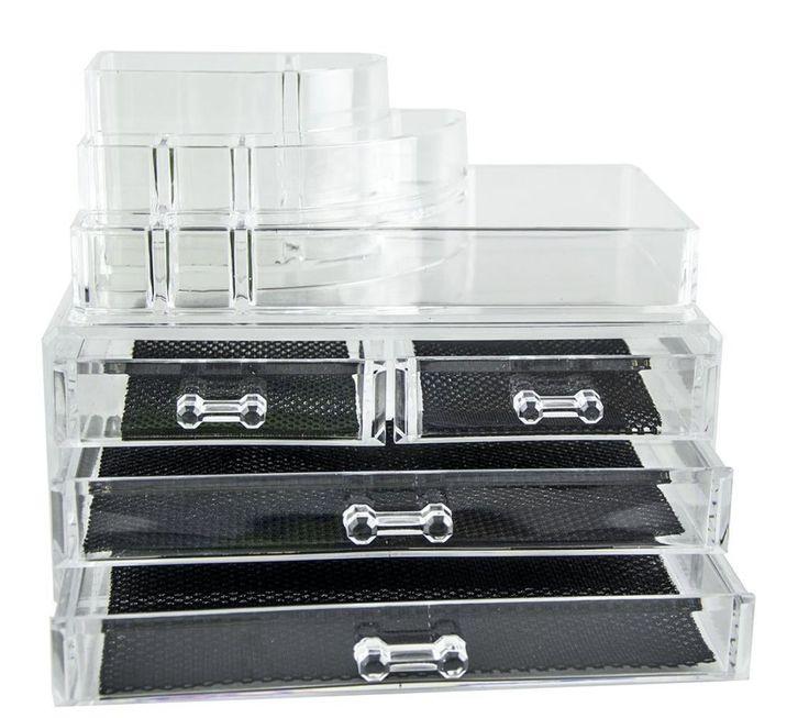 Moderna caja expositora para organizar cosméticos,4 cajones Diseño bonito y estilizado con estructura transparente. Fabricada con plástico resistente y apto para alimentos. Varios compartimentos de distintos tamaños. También tiene espacio para objetos pequeños y bisutería.