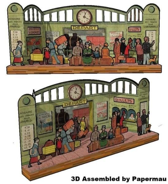 This is the Train Station vintage paper model , originally published in the early twentieth century  in France . I  don`t know the publish...