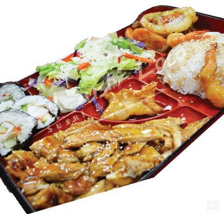 Bento Box - (Lunch Specials from 10:00AM-2:00PM) Lunch Special 6.99 Dinner 12.99 Teriyaki Chicken, Rice, Won-ton, Vegetables, Shrimp on Tempura, 4 Piece California Roll Olive Garden Salad and rice.