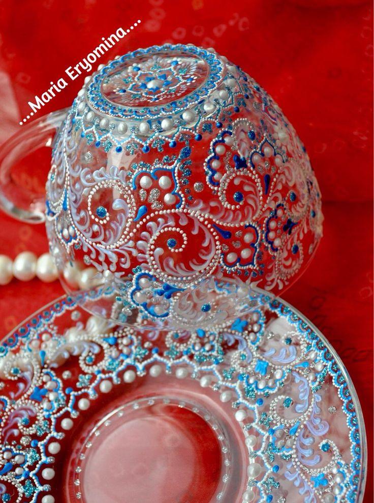Купить Чайная пара стеклянная в технике точечная роспись - серебряный, чашка, чашка с блюдцем