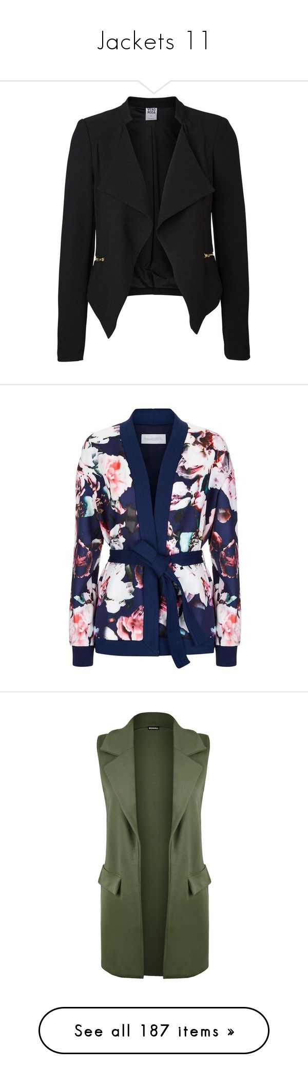 """Jackets 11"" by musicmelody1 on Polyvore featuring outerwear, jackets, blazers, blazer, coats, tops, vero moda, draped blazer, tall jackets and long sleeve blazer"