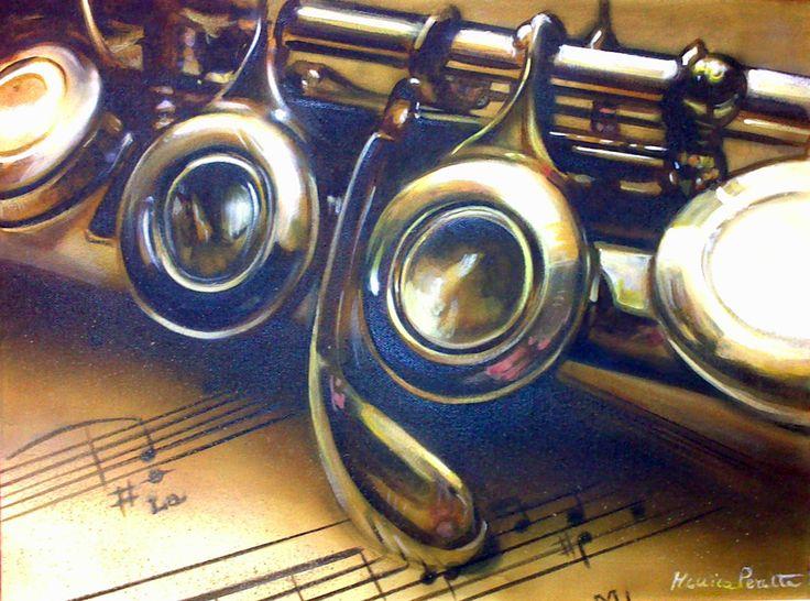 Monica Peralta. Cromature musicali acrilico su tela 50x30