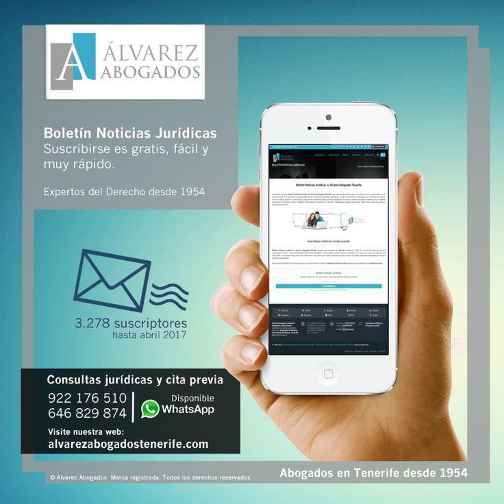 Boletín Noticias Jurídicas. Suscribirse es gratis, fácil y rápido. Siempre las últimas noticias en su email. https://alvarezabogadostenerife.com/?p=9253 #noticiasjuridicas #abogados #tenerife