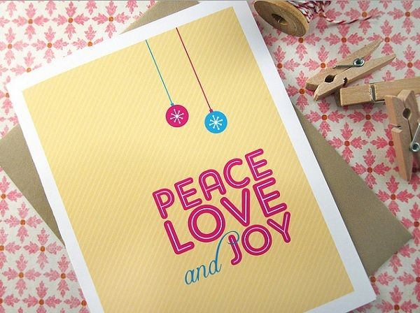 Peace Love and Joy Holiday Cards by Monkeymindesign