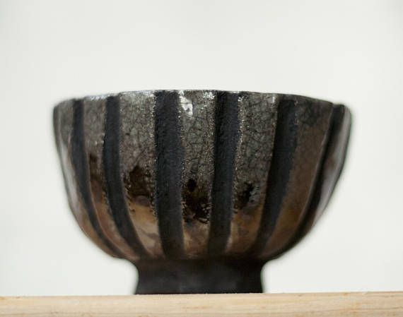 Ceramic chawan tea cup handmade raku unique gray copper