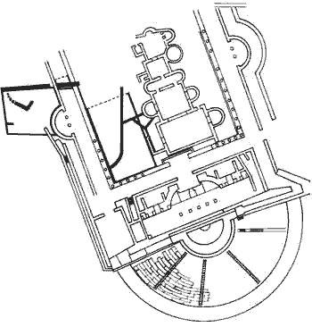 Volterra: Pianta dell'area archeologica con il Teatro Romano e il complesso termale.