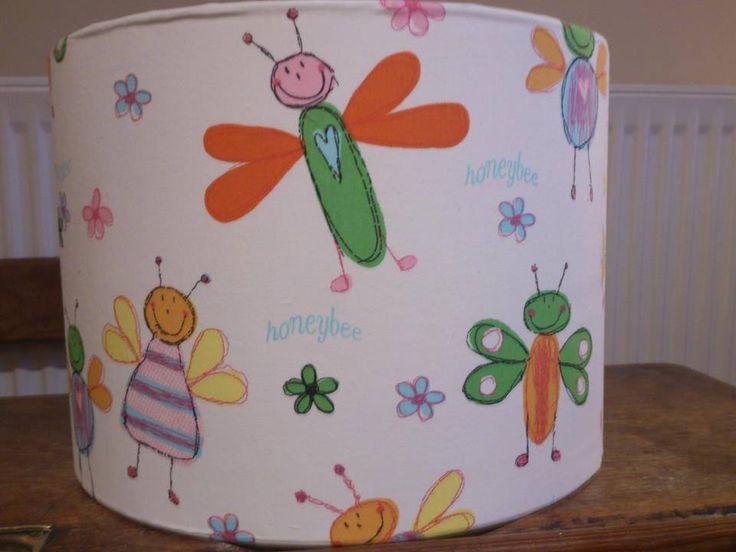 Honeybee fabric covered lampshade