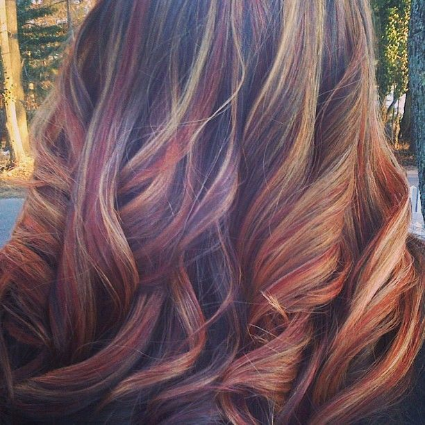 Blonde and red highlight for brunette hair. Love this!!