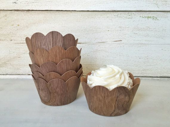 Woodland Party Wood Cupcake Wrappers Liners, Birthday Party Rustic Cupcake Wrapper, Baby Shower, Woodland Critter, Wedding Cupcake Wrapper