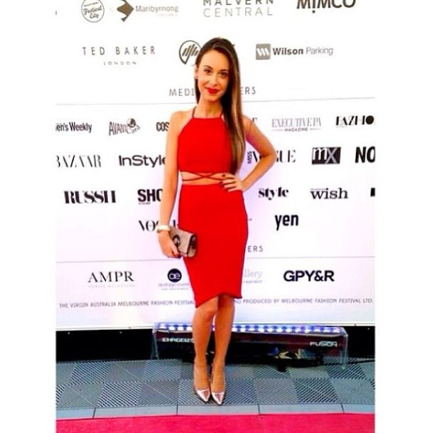 Bianca looking lovely in our Belize Crop and Curved Hem Skirt in Red at the Rekorderlig Fashion Lounge @Virgin Australia Melbourne Fashion Festival #snap