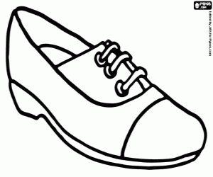 Een sportieve schoen, comfortabele schoen met veters kleurplaat