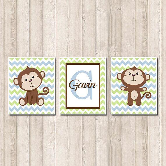 Personalized Baby Boy Monkey Nursery Wall Art Blue Green Chevron Set of 3 Prints Nursery Artwork Picture Wall Art Decor Baby Shower Gift on Etsy, $25.00