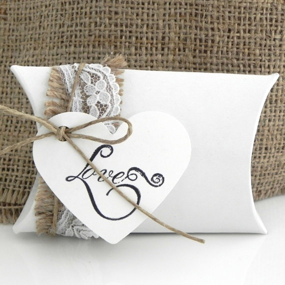 10 Rustic Wedding Favor Pillow Boxes  White Box with by LavaGifts, $18.00