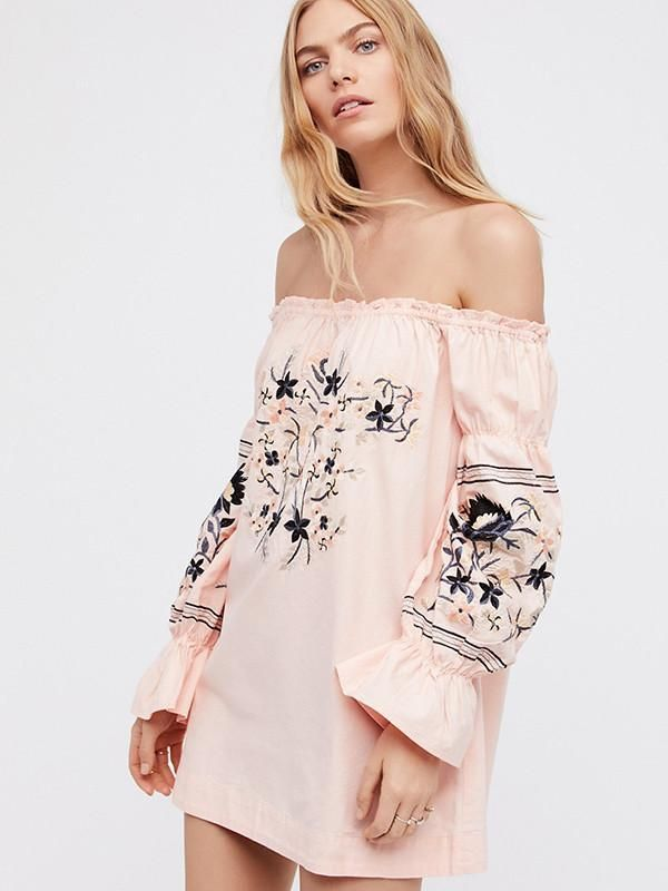 c2586da30d965 Pretty Sweety Flower Inwrought Long Sleeve Off-Shoulder Mini Dress ...