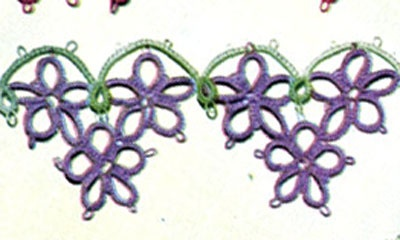 Purple Pillow Case Posies Edging & Insertion tatting pattern from Floral Insertions and Floral Edgings, Clark's O.N.T. J Coats, Book No. 263, in 1949.