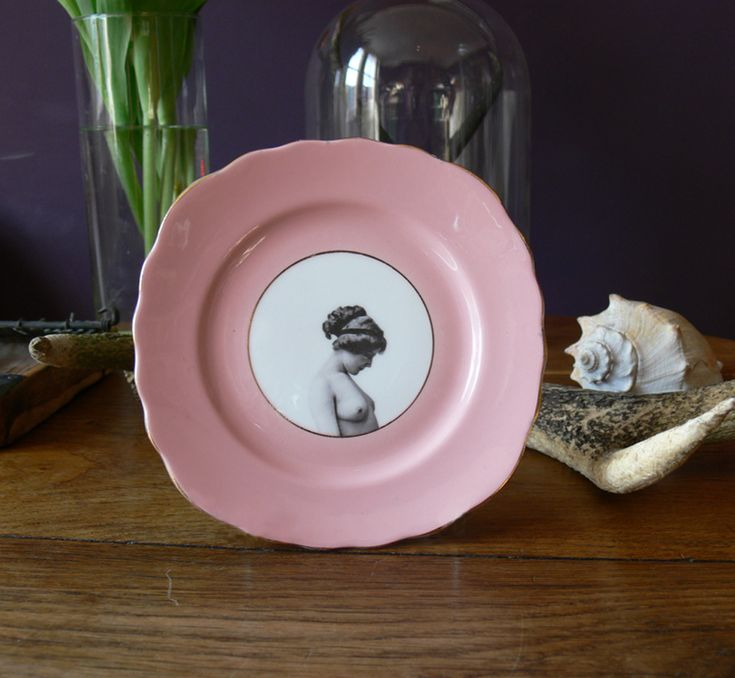 Girl on Pink Side Plate