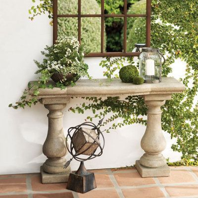 Elle Stonecast Console Table and Window Garden Outdoor Mirror