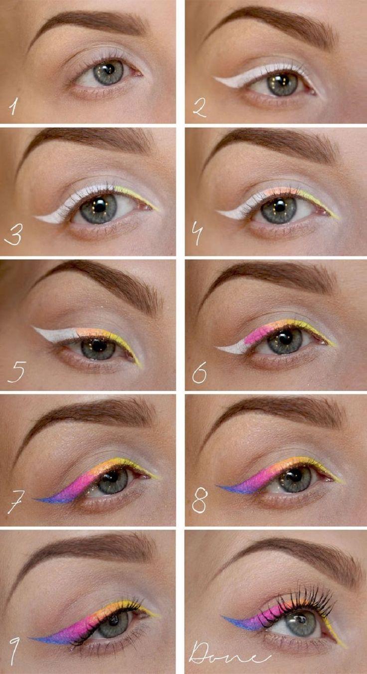 Neon Eyeliner Tutorial - 12 Multicolored Eye Makeup Tutorials and Ideas | GleamItUp