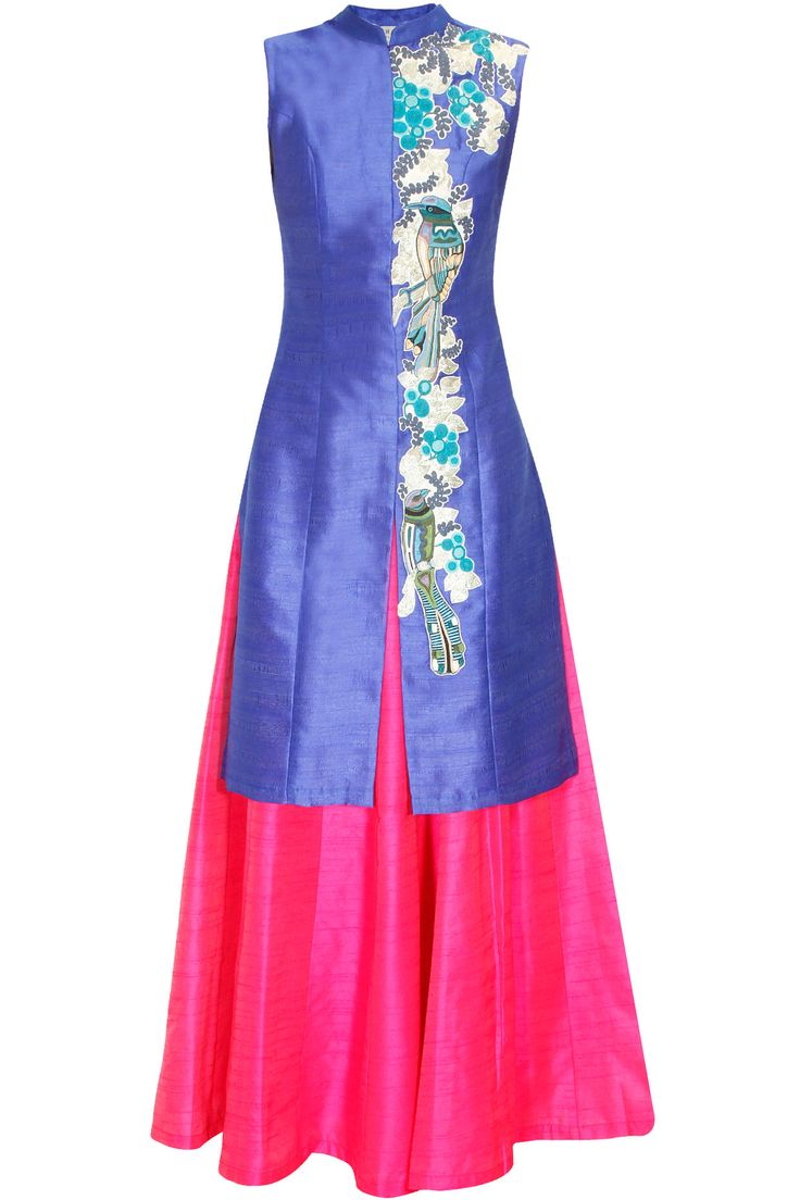 Royal blue bird embroidered long achkan jacket with pink skirt lehenga available only at Pernia's Pop Up Shop.#perniaspopupshop #shopnow #aharin #clothing #festive #newcollection