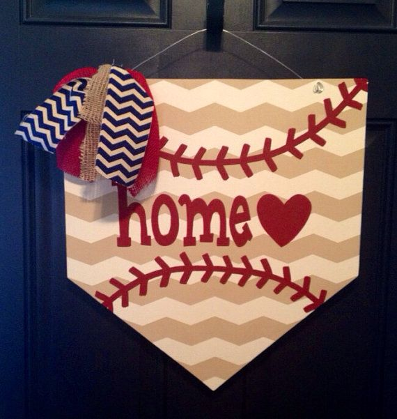 Home Plate Wooden Door Hanger on Etsy, $35.00