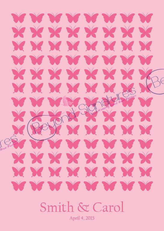 Pink Butterfly wedding guest book alternative