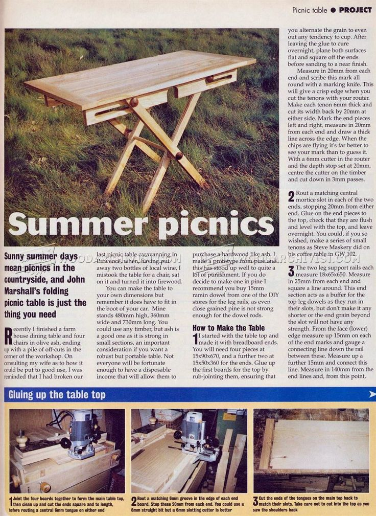 #3112 Folding Picnic Table Plans - Outdoor Furniture Plans