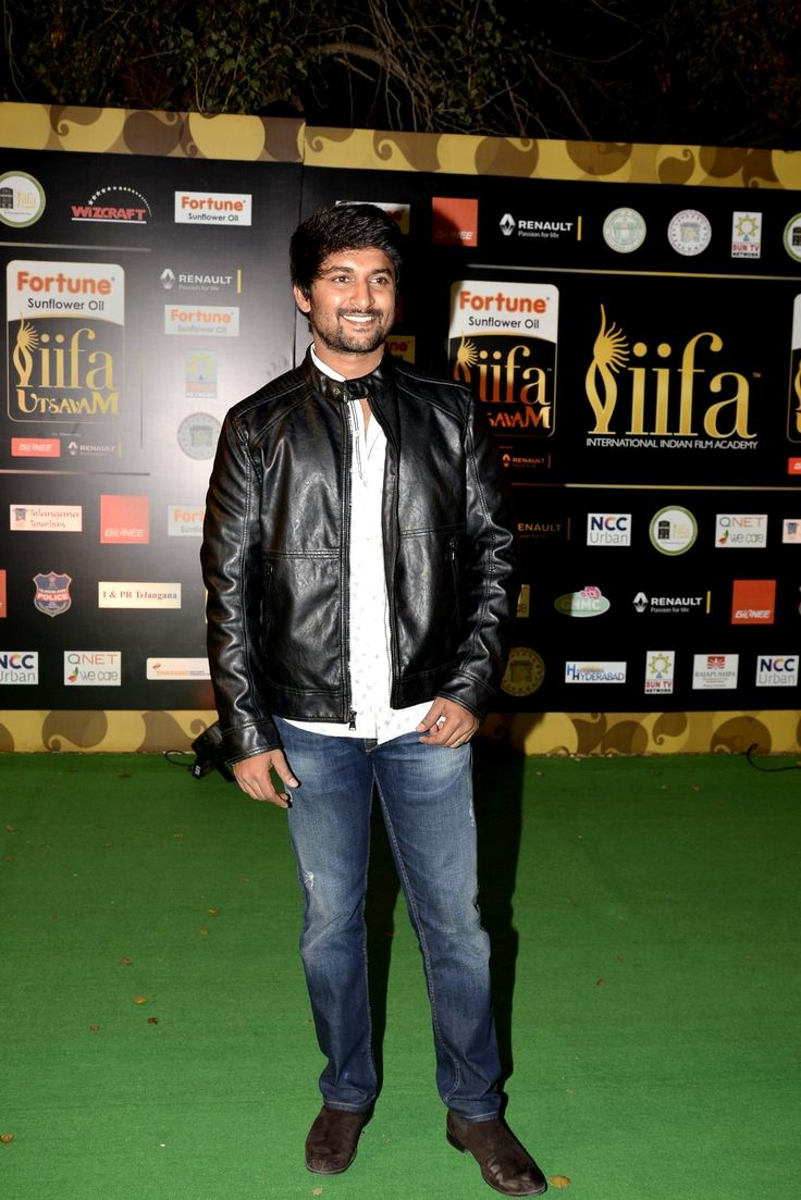 Actor nani looked cool in a jeans shirt teamed with a black