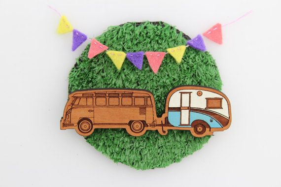 Wood laser cut brooch Cosy vintage Caravan and Kombi combo Hand painted blue and white. $25.00, via Etsy.
