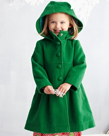hooded wool coat for girls. LOVE the green! too bad my kids can't stand wool.  :(