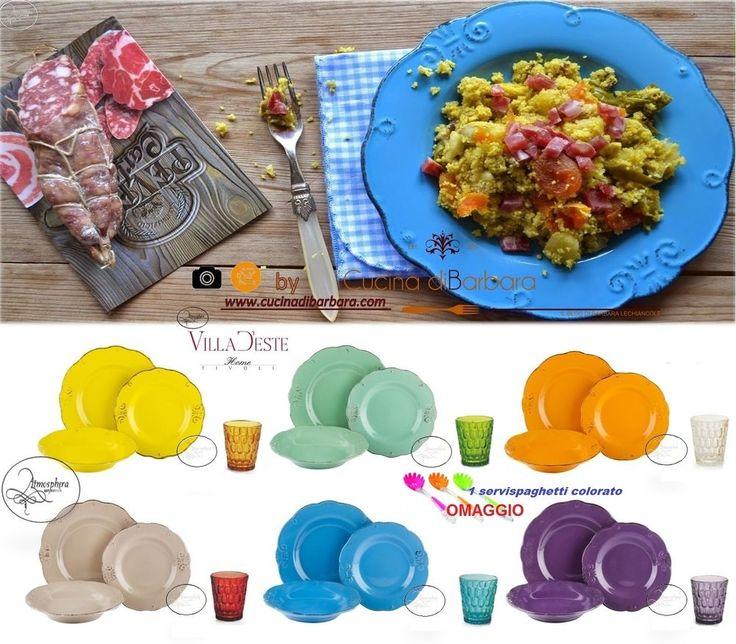 VILLA D ESTE Servizio di piatti DUCHESSA 18 PZ (6 PERS.) + Set 6 bicchieri vetro