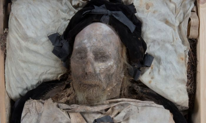 The amazingly well preserved body of Bishop Peder Winstrup. Photograph: Gunnar Menander