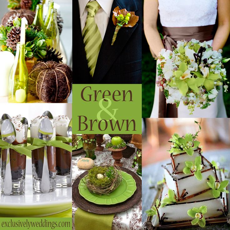 Green and Brown Wedding Colors | #exclusivelyweddings