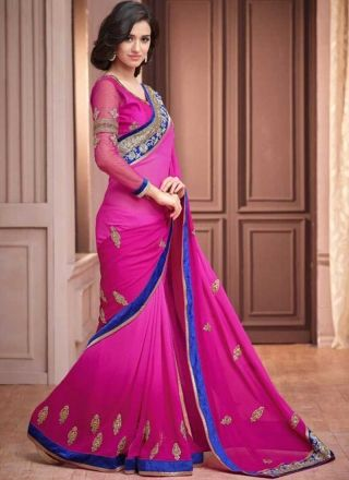 Classy Magenta Faux Georgette With Blue Patch Border Work Saree
