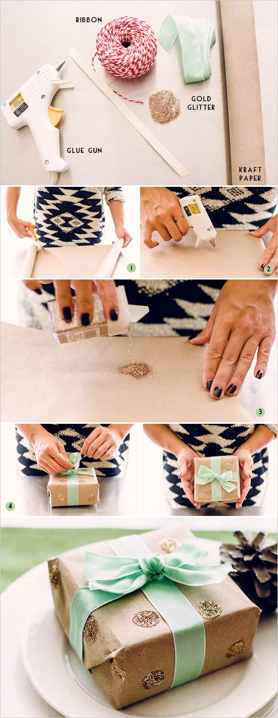 DIY glitter wrapping paper