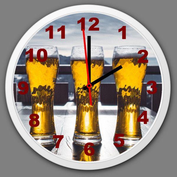 Uhren - Küchenuhr Wanduhr Bier Wohnzimmer Wanduhr lautlos - ein Designerstück von Tassen-Shop bei DaWanda