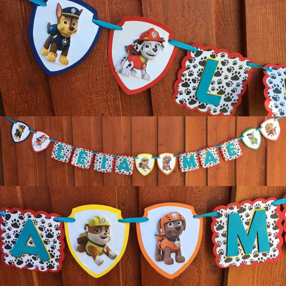 This Paw Patrol inspired banner is PAWsome and perfect for your little one birthday or just for fun!  Banner is made of card stock, printed dog paw print paper, foam squares on pups and lettering to add a 3D look and coordinating ribbon. Ribbon color may slightly vary depending on availability.  Dimensions: 5 1/2 Each square, Pup badges are- approx.- 5.25x 6 ***IMPORTANT*** Name banner option is for names up to 8 letters. Please convo if additional letters are needed. Please include name...