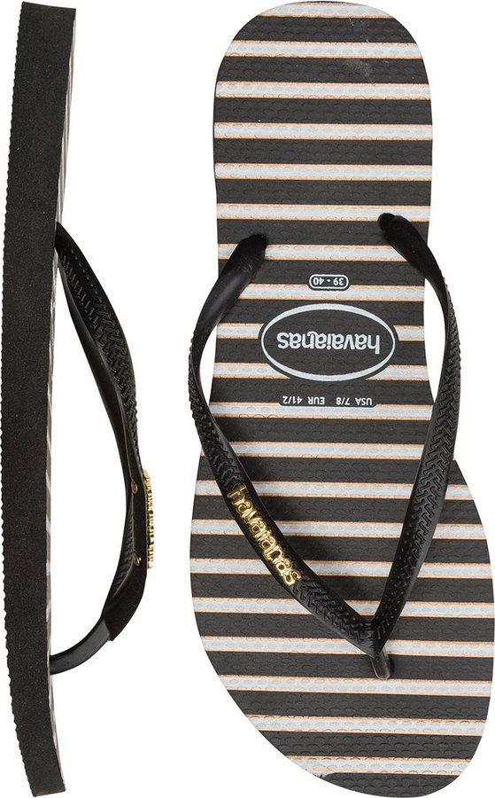 Havaianas Logo Metallic Stripes Slim Flip Flop