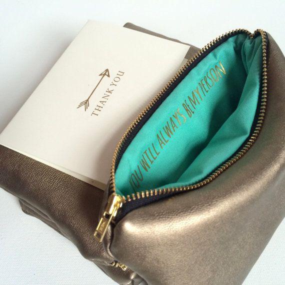 Brautjungfer-Geschenk für sie / / Gold Leder-Zipper Pouch mit Nachricht / / du bist meine Person-Zitat / / Greys Anatomy