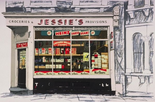 Jessie's Provisions, screenprint by Janet Brooke - part of her East End Shopfronts Series. '...our local grocery store, was further down Eric St on the corner of Hamlets Way, where you could buy everything you needed including fresh bread, delivered twice a day, warm from the bakery. Jessie's is still a grocery shop.'