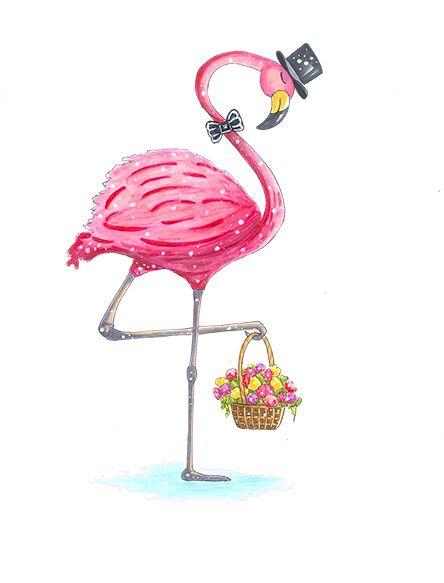 Romantic flamingo | drawn by Anastasia Opachanova