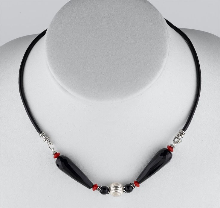 Faceted Black Onyx and Red Coral Sterling Silver Handmade Leather Cord Necklace by GalinasDesigns on Etsy https://www.etsy.com/listing/186087300/faceted-black-onyx-and-red-coral