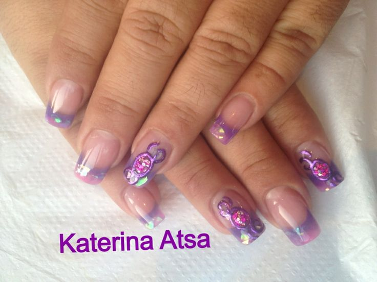 OTD Acrylic Nail System   #nailsoftheday #nailgasm #nailartist #nailartwow #liquidstone #purple #mylar @INM Nails