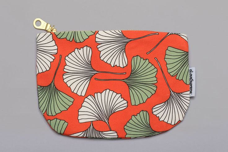 Gingko Biloba Fabric Pouch with zip- a small custom printed canvas pouch made with a gold zip. Perfect to use as a pencil case, make-up bag or for storing jewellery.