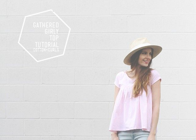 gathered girly top tutorial